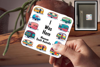 Drink Coaster, I Was Here Mannum - Magnetic (fridge magnet)